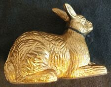 Cast Metal Rabbit Bunny Easter Figurine Dust Collector Gold Tone