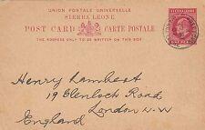 SIERRA LEONE:1902 PENNY Postal Card H &G 8 used 1907 to London