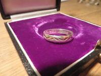 Toller 925 Silber Ring Designer Modern Unisex Kerben Einfach Schlicht Bandring
