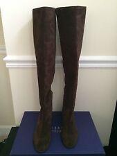 NIB $725 Stuart Weitzman Rockerchic Suede Over The Knee Boots Dark Brown Size 8
