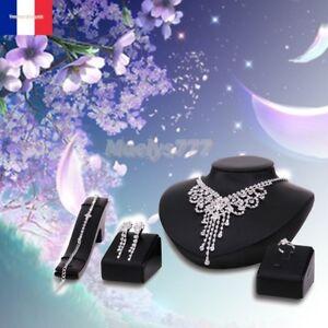 Parure Bijoux Mariée collier boucle  bracelet  bague  mariage cérémonie soirée.