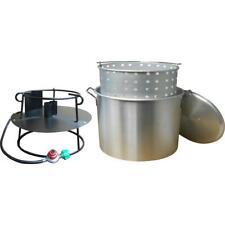 King Kooker Propane Gas Jet Outdoor Cooker w Aluminum Pot Basket Lid 120 Qt