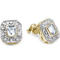 Natural Aquamarine & 20 Diamond 9ct 9K Solid Gold Stud Earrings Bravo Jewellery