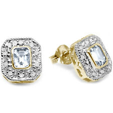 Natural Aquamarine & 20 Diamond 9ct 9K Solid Gold Stud Earrings Bravo Jewellery