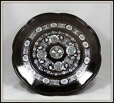 """LOVELY """"Hand Carved Oriental Serving Tray with Mother of Pearl Inlay"""" (17.5"""" W)"""