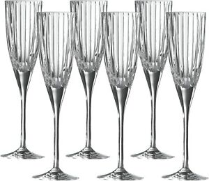 Royal Doulton Linear Crystal Champagne Flutes Glass set of 6  -  Brand New Boxed