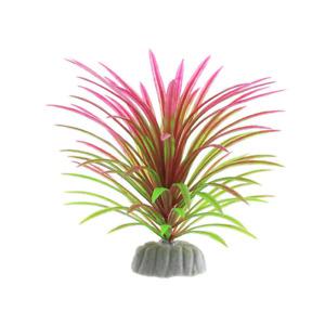 12cm PVC Aquarium Decorative Green  Pink Artificial Daffodil Plant Ornament