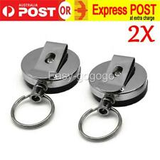 2X Heavy Duty Metal Chain Retractable Pull Key Ring Belts Clip Id Card Holder AU