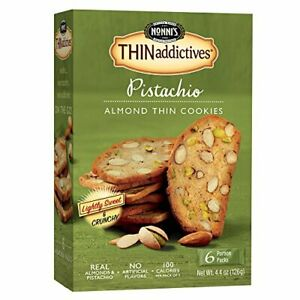 Nonni's THINaddictives, Thin Cookies, Pistachio Almond, 6 Count, 4.4 Ounce