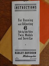NOS Harley-Davidson Handbook Manual Running/Adjusting 45 Service-Car 99462-41