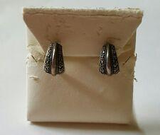 Vintage Estate Sterling Silver Marcasite Half Hoop Earrings