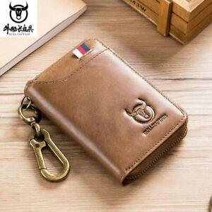 BULLCAPTAIN Men RFID Blocking Wallet Card Genuine Leather Key Case Holder Purse