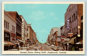Postcard KY Hopkinsville c1950s Street View Business Section Stores & Cars AD12