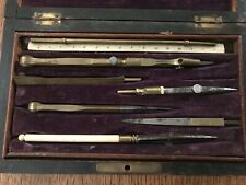 Antique french brass architectural compass set with authentic bone ruler