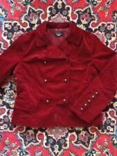 Talbots Burgundy Millitary Style Velveteen Blazer Coat Jacket S Small 6P EUC