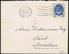1929 PUC 2 1/2d Blue London to Saro Sweden  6.8.29