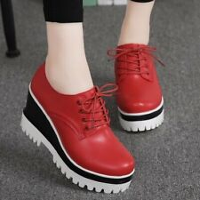 Ladies Lace Up Round Toe High Wedge Heel Platform Creepers PU Leather Spring Hot