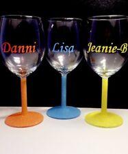 Personalised Glitter Wine Glass Name Gift Secret Santa