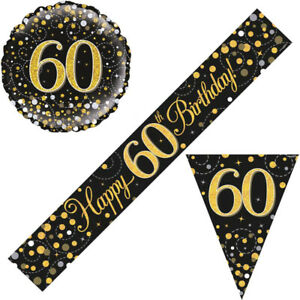 60th Birthday Party Decorations Flag Buntings Black Gold Balloons Banners Age 60
