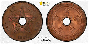 CONGO FREE STATE 1889 10 Centime PCGS MS64RB