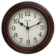 "NEW Westclox 33883P ROUND ANALOG ALMOND FRAME Classic WALL Clock, 9.5"" 7504079"