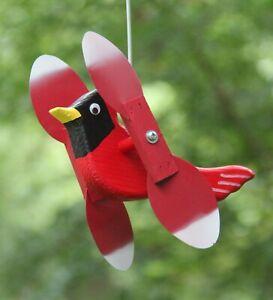 Cardinal Mini Whirligigs Whirligig Windmill Yard Art Hand made from wood