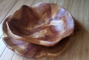 d'Ecco Burl Rustic Raw Natural Decorative Wooden Nut Bowl  & Tray Home Decor