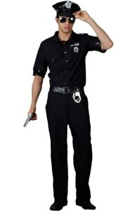 Mens POLICE OFFICER PC Cop Uniform Fancy Dress Costume Outfit Terminator 80s USA