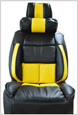 UNIVERSAL LIMOUSINE BLACK/YELLOW S.LEATHER FRONT ONE SEAT COVER & NECK CUSHION