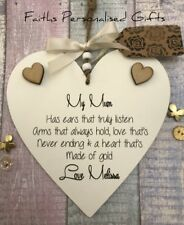 PERSONALISED SHABBY CHIC NAN/MUM/SISTER HEART PLAQUE*ANY OCCASION*KEEPSAKE GIFT