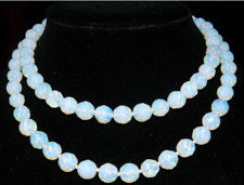 New 8mm Faceted Sri Lanka Moonstone Round Beads Necklace 35''