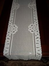 LACE TABLE RUNNER WHITE 54 X 14  FLORAL SHEER HOME DECOR WTRF598-A
