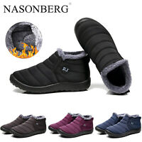 Mens Waterproof Womens Winter Snow Ankle Boots Fur Lined Slip On Outdoor Shoes