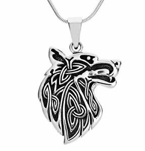 Statement 925 Sterling Silver Wolf Pendant with Chain