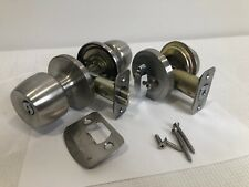 Defiant Entry Door Lock & Single Cylinder Deadbolt Satin Chrome - Needs Re-Keyed