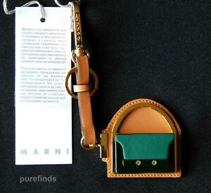 MARNI BAG CHARM, TRUNK KEYRING. LEATHER  GOLD PLATED BRASS & HORN RRP £315 BNWT