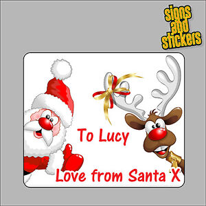 40 Personalised Christmas Stickers gift tags xmas parcels presents santa labels