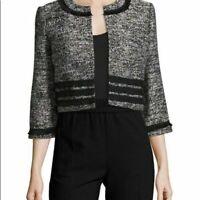 Women Jacket Karl Lagerfeld Paris Size M Short Tweed Blazer Black Fringe Trim