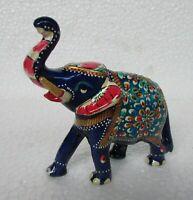 Handcrafted Metal Meenakari Painted Elephant Statue Home Decor Art India