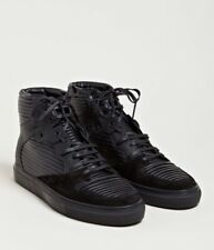 Balenciaga Mens High Top Sneakers, Panel, Size 42 (UK 9) Black Leather and Suede
