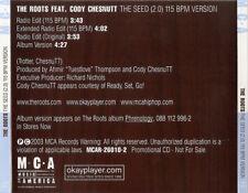 The Roots: The Seed (2.0) 115 BPM Version PROMO MUSIC AUDIO CD Cody Chesnutt 4tk