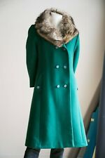 Vintage Racoon Fur Coat | Racoon Collar Coat | Emerald Green Coat