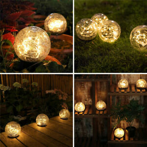 Outdoor Solar Ball LED Lights Garden Crackle Glass Globe Stake Lamp Waterproof