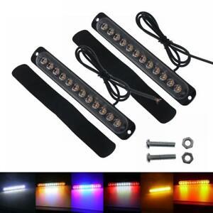 2pcs car 12LED Strobe Warning Light Bar Flashing Truck Emergency Auto lamp