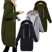 Women Long Sleeve Zip Hooded Hoodie Jacket Jumper Cardigan Coat Plus Size Surpri
