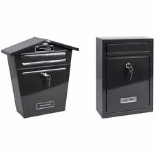 Dark Grey Post Box Steel Letter Mail Square House Wall Mount Outdoor Key Lock