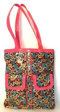 "VERA BRADLEY FRILL ""Orange Blue Snails"" Tote Bag Large"