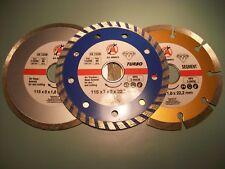 "BGS Kraftmann Quality Diamond Cutting Disc Set 3 Pcs 115mm 4.5"" Turbo GS TUV"