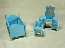 Vintage Marx (?) Toys Dollhouse Nursery Set Crib, Dresser, Chair