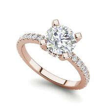 Cut Diamond Engagement Ring Rose Gold French Pave 3 Carat Si1/D Round